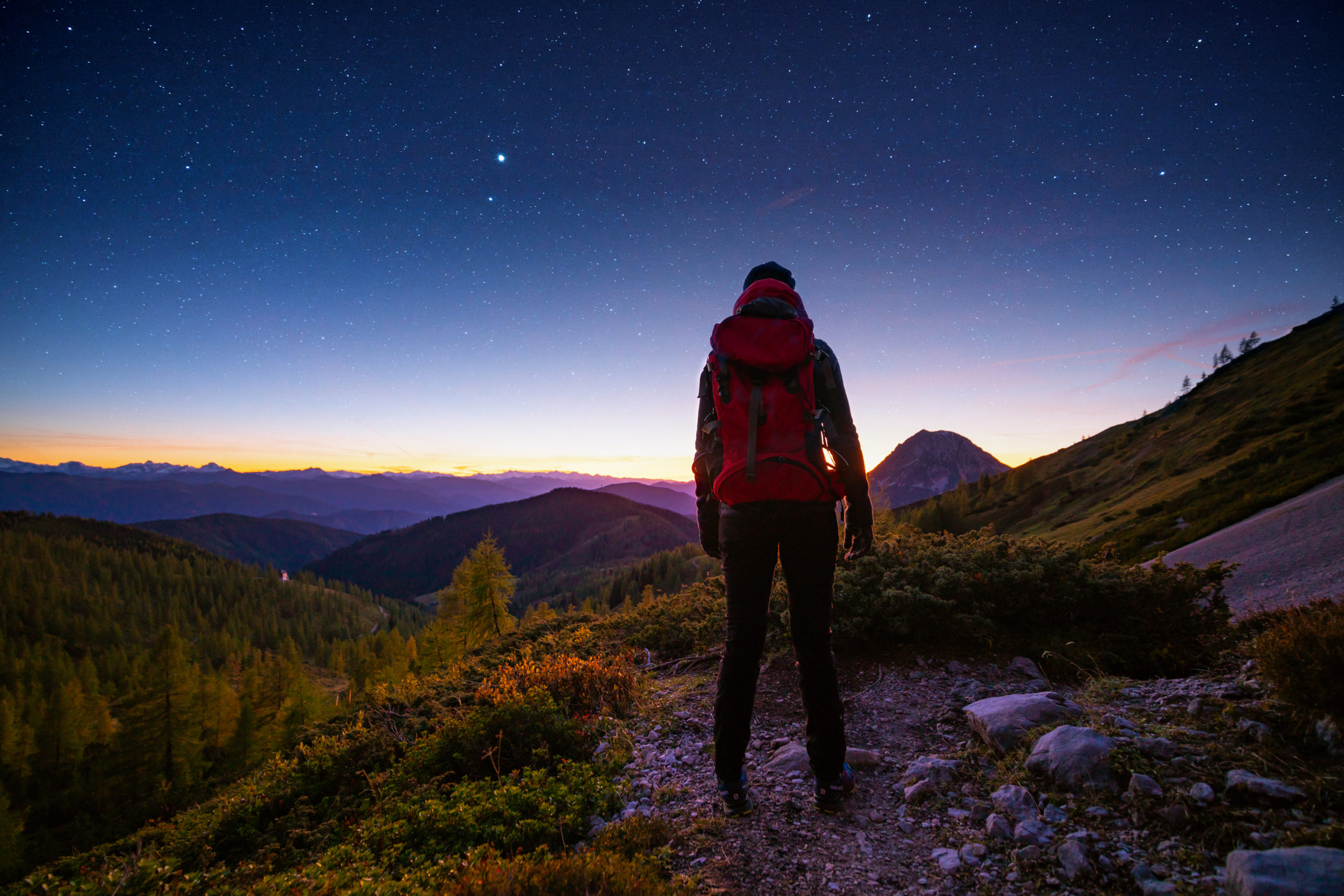 Hiker looking at stars, earth day